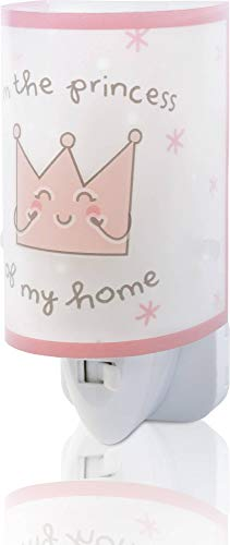 Dalber Princess and Prince Luz nocturna quitamiedos infantil enchufe led corona E14, Rosa