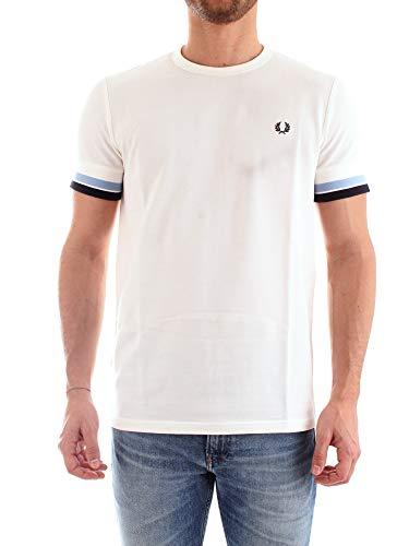 Fred Perry Hombres Camiseta con Punta audaz m6513 129 XL Blanco