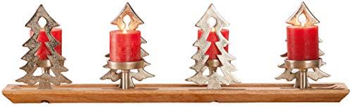 Decojohnson - Corona de adviento moderna (75 x 10 x 23 cm, aluminio, madera), diseño de árbol de...