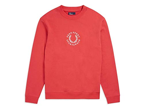 Fred Perry Embroidered Logo Sweat Washed Red-M