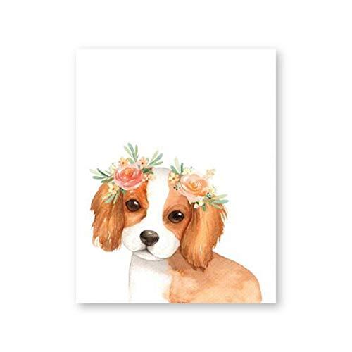 Impresiones Sobre Lienzo,Póster De Impresión Hd Impresa Sobre Lienzo,Corona Floral Bonitos Perros...