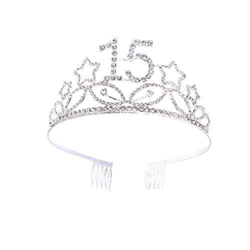 Lurrose Corona Cumpleaños 15 Años Diadema Cumpleaños Tiara Cristal con Peineta Accesorio de Pelo...