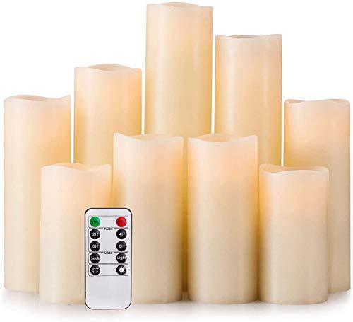 Hausware Paquete de 9 Velas Sin Llama,Velas con Pilas H 4'5' 6'7' 8'9' Vela de LED Real de Pilar de...