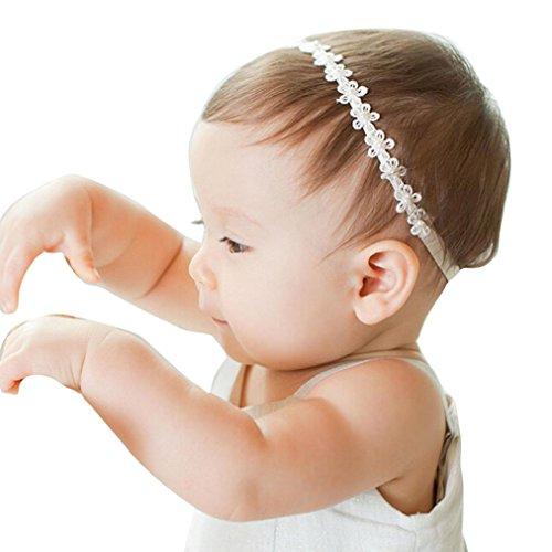 BB smile Banda de pelo,Baby Girls Flores de encaje de princesa Diademas de perlas diamantadas...