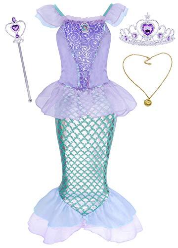 AmzBarley Disfraz sSirenita Niña Boda Fiesta Princesa Sirena Vestido Ropa Niña Cumpleaños...