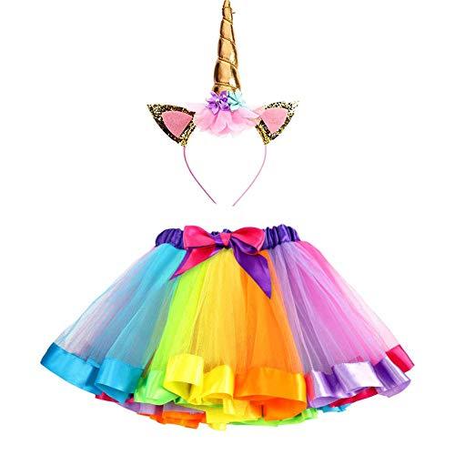 Ruiuzi - Conjunto de disfraz de unicornio con tutú arcoíris y diadema de unicornio, para niñas...