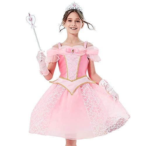 Sunny Fashion Vestido para niña Princesa Disfraz Accesorios Corona Varita mágica 4 años