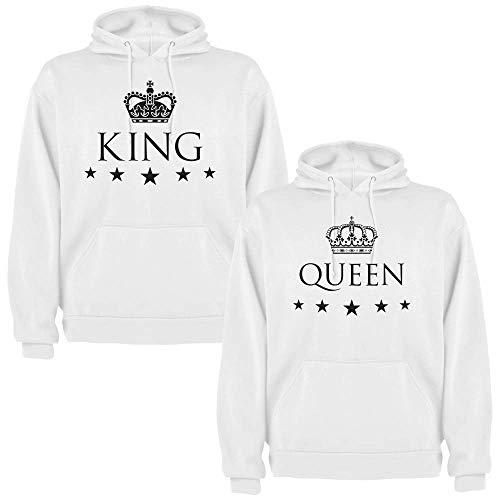 Pack de 2 Sudaderas Blancas para Parejas, King y Queen, Negro (Mujer Tamaño S + Hombre Tamaño L)