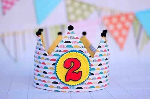 Corona de tela para cumpleaños infantil, corona de tela reversible, corona niños.