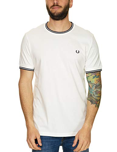Fred Perry Hombres Camiseta con Doble Punta m1588 808 Blanco S