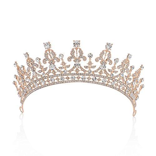Corona de boda real de SWEETV, corona de cristal con circonitas cubicas, tiara para, tocado de...