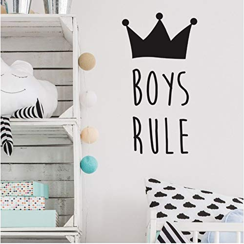 Lsfhb Special Design Wall Stickers For Kids Rooms Vinyl Crown Pattern Quotes Boys Rule Wall Decal...