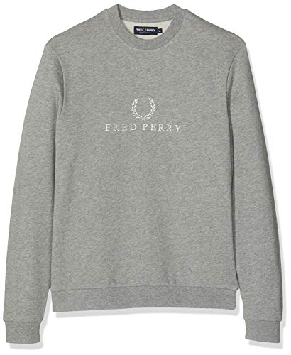 Fred Perry M2606-EMBROIDERED SWEATSHIRT-420-M Sudadera con Capucha, Gris (Steel Marl 420), Medium...