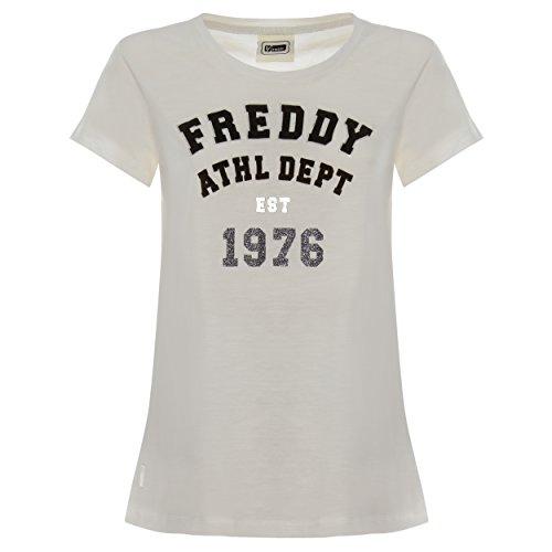 Camiseta con Escote Redondo de 100% algodón Flameado con Estampado Delantero Flocado - Hielo -...