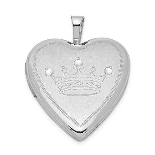 Colgante de plata de ley maciza con forma de corazón y corona de satén chapada en rodio (longitud...