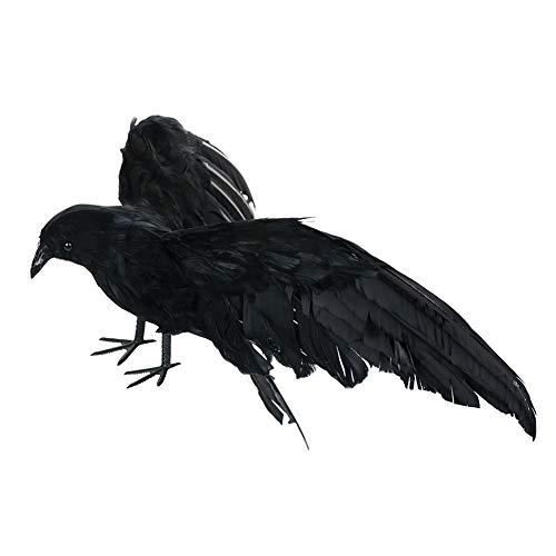 Corona decorativa de Halloween, corona artificial realista, antipájaros, hecha a mano con plumas...