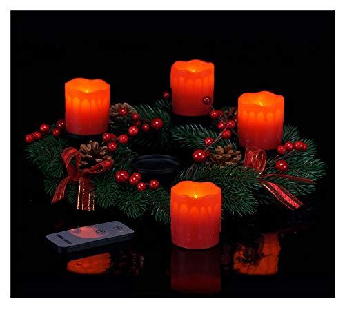 Spetebo Corona de Adviento con 4 velas LED y mando a distancia – Corona de Navidad roja con velas...