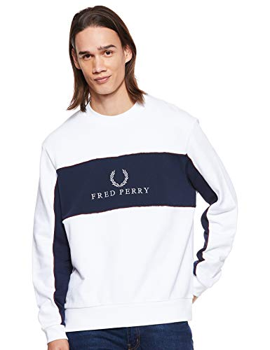 Fred Perry M4553-PANEL Piped SWEATSHIRT-100-XL Sudadera, Blanco (White 100), X-Large (Tamaño del...