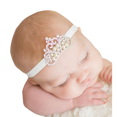 K-youth diademas bebe niña diademas bebe recien nacidos Perla corona banda para el pelo elasticas...
