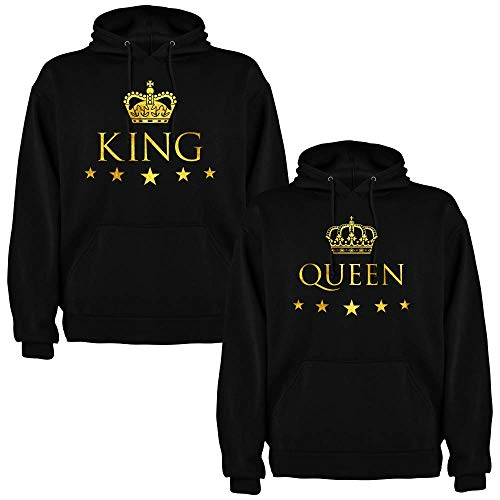 Pack de 2 Sudaderas Negras para Parejas, King y Queen, Dorado (Hombre Tamaño L + Mujer Tamaño M)