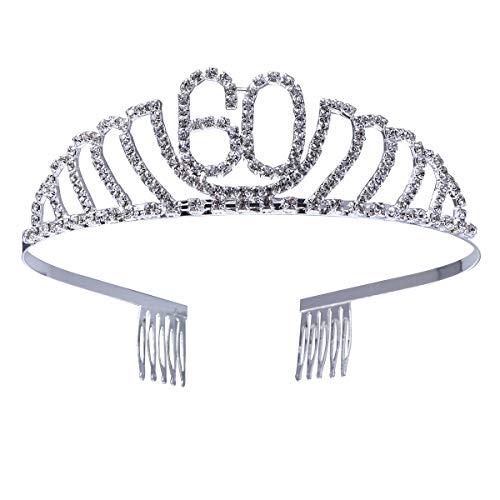 Frcolor Corona Cumpleaños 60 Años Diadema Cumpleaños Mujer Tiara Cristal con Peines (Plata)