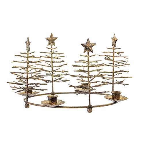 BLOOMINGVILLE – Corona de Adviento, candelabro de Adviento, con abetos – Metal – Diámetro 33...