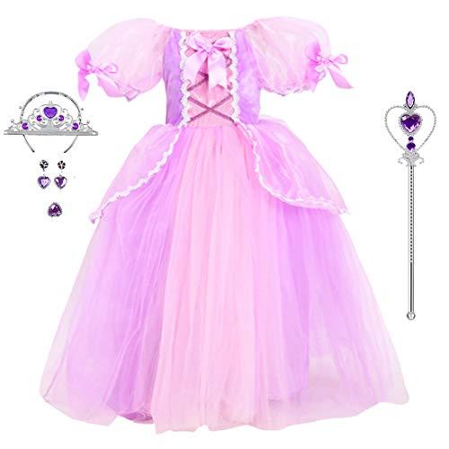 Phelyseo Vestido de Princesa niñas Cosplay Carnaval Fiesta Disfraz Disfraces