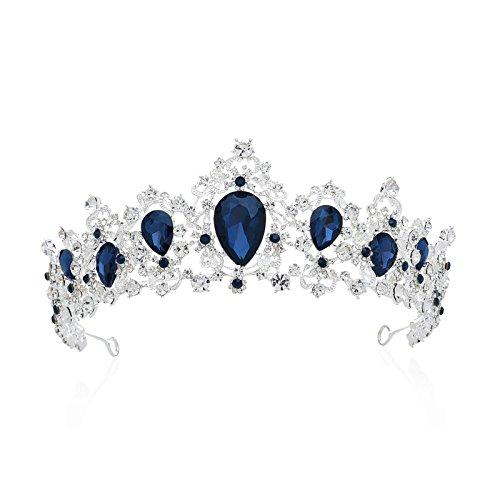 SWEETV Vendimia Realerde Corona Nupcial Tocado CZ Cristal Tiara Diadema Accesorios para Mujeres,...