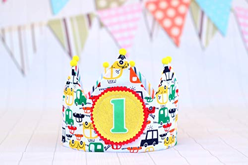 Corona de cumpleaños bebés y niños con dibujos de coches