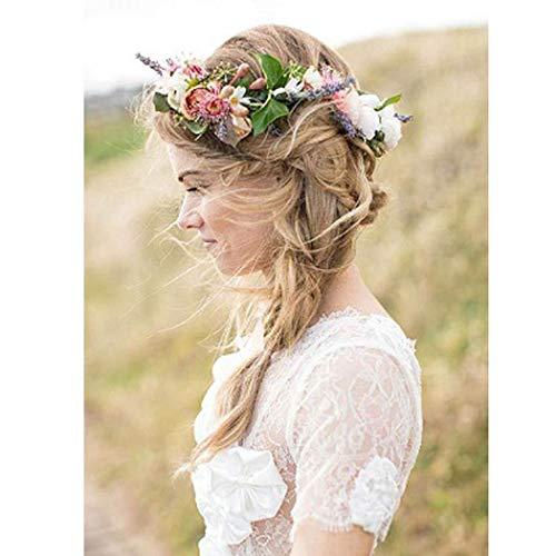 Simsly Boho corona de flores corona boda guirnalda diadema floral accesorios para el cabello para...