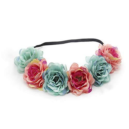 Miaoo - Diadema con guirnalda de rosas para bodas, fiestas, festivales; accesorio para el pelo para...