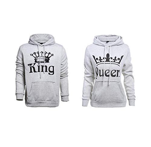 Pareja King & Queen Sudaderas con Capucha Manga Larga Encapuchado Jersey Pull-Over para Hombre y...
