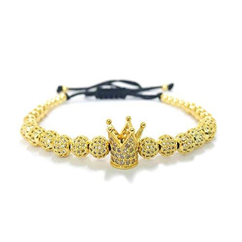 MESE London Rey Corona Perlas Pulsera 18ct Oro Plateado 'The Emperor' en Caja de Regalo Elegante