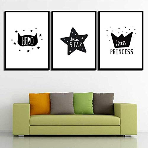 Abstract Star Crown Pictures Canvas Painting Print Cat Poster Wall Art Living Room Decor-40x50cmx3...