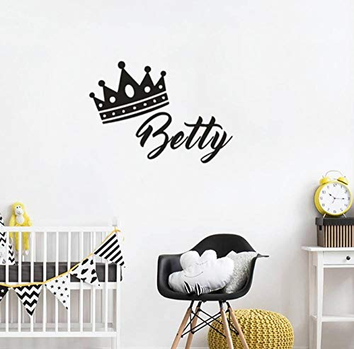 Etiqueta de la pared Princess Crown Vinyl Wall Decal Personaliza cualquier nombre Etiqueta de la...