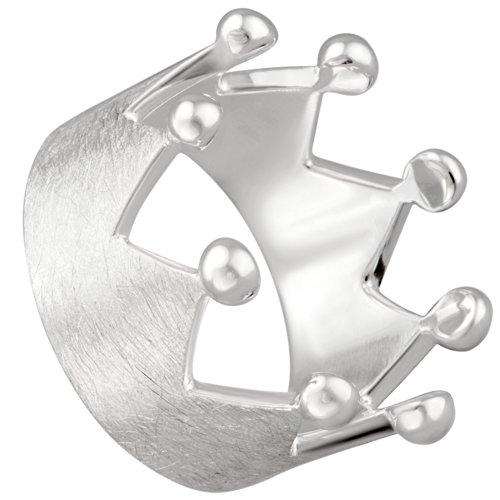 Vinani RKR62 - Anillo, Corona, cepillado con Pointe brillante, Plata de Ley 925, Talla 62 (19.7