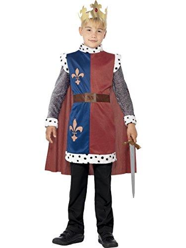 Smiffys-44079M Disfraz Medieval del Rey Arturo, con túnica, Capa y Corona, Color Rojo, M-Edad 7-9...