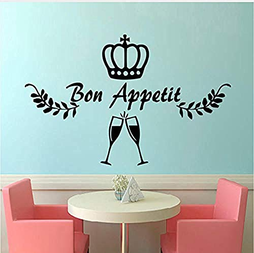 Pegatinas de Pared,Crown Wine Glasses Tatuajes de pared French Bon Appetit DIY Decoración para el...