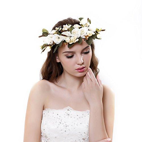 Cinta para el cabello Ever Fairy® de corona de flores, ajustable, para mujer o niñas beige Taille...