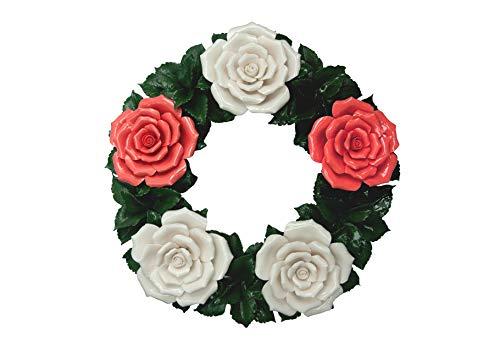 Flores funerarias - Corona floral de cerámica rojo-blanco - Flores de tumbas - Flores de cementerio...