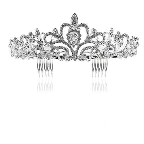Tinksky Boda novia de diadema corona brillante diadema de diamantes de imitación Tiara de cristal...