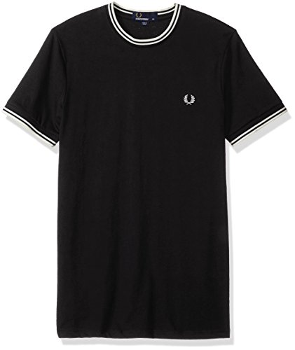 Fred Perry Fp Twin Tipped Camiseta, Negro, M para Hombre