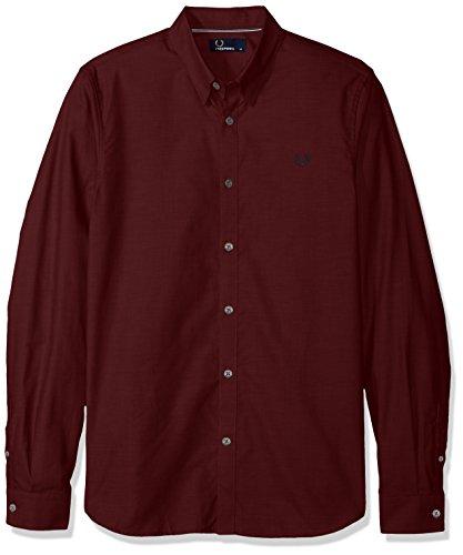FRED PERRY El hombre camisa de manga larga M3523 799 L Bordeaux