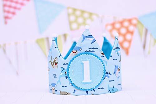 Corona cumpleaños bebé, baby shark, regalo primer cumpleaños niños