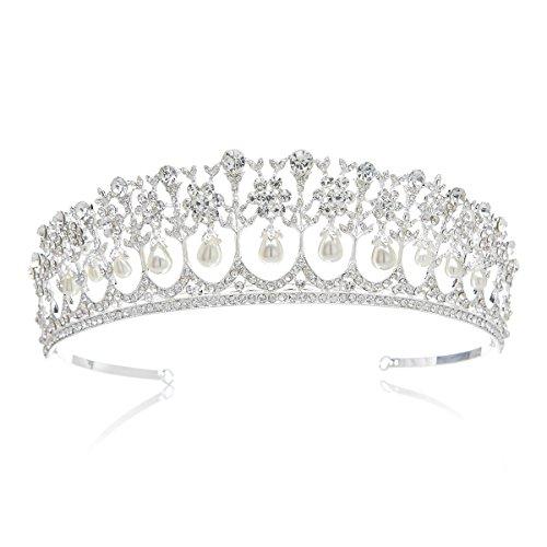 SWEETV Vendimia Perla Rhinestone Diamante De Imitación Corona Boda Princesa Tiara Diadema, Plata