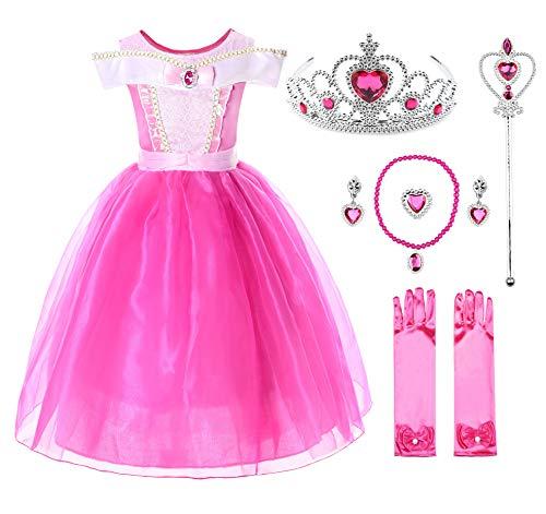 JerrisApparel Niña Princesa Aurora Disfraz Vestir Bella Durmiente Vestito (8 años, por la Tobillo...