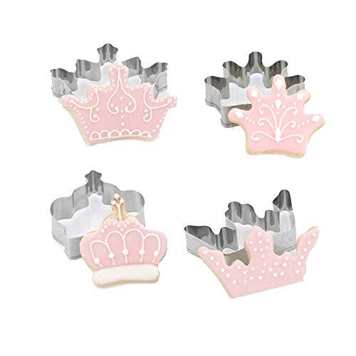 Juego de 4 cortadores de galletas de acero inoxidable con forma de corona, reina, príncipe,...