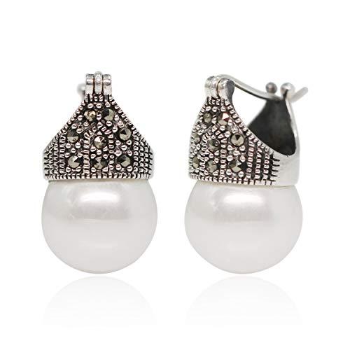 Luna Azure Pendientes de estilo vintage para mujeres, plata de ley y perlas marcasita