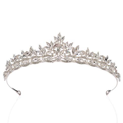 SWEETV Tiara Nupcial con Pedrería para Novia, Corona de Cumpleaños con Princesa Tiara, Accesorios...