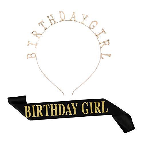 Tanersoned Corona Tiara Brillante de Birthday Girl Set, Diadema de Adorno de Cristal Diamantes de...